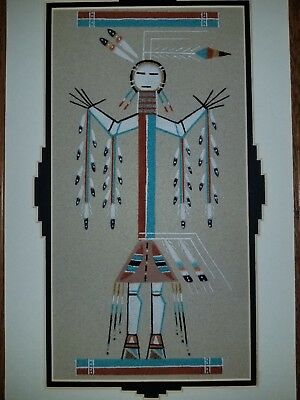 "Lester Johnson Native American Sand Art  ""Rainbow People"""