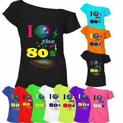 I Love The 80s T-shirt Top Off Shoulder Ladies Womens Retro Fancy outfit Lot