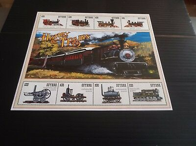 Guyana History Of Trains Sheetlet Mnh