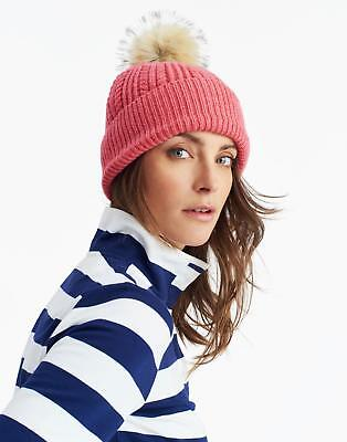 Joules Bobble Hat in Soft Coral in One Size
