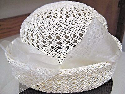 New Ivory Woven Lace Straw Roll Over Dress Hat Wedding Bride Party Dress Church