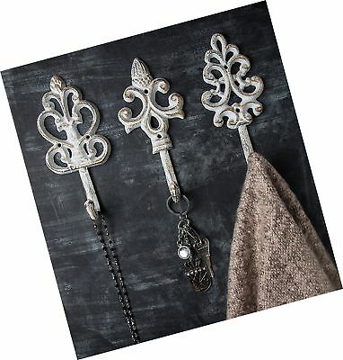 Shabby Chic Cast Iron Decorative Wall Hooks - Rustic - Antique - French Count...