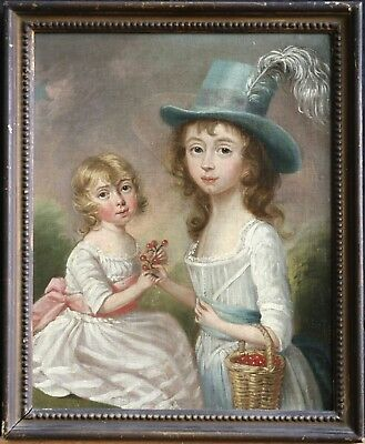 18th CENTURY OLD MASTER ENGISH PROVINCIAL OIL CANVAS DOUBLE PORTRAIT TWO SISTERS