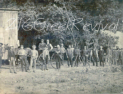 SIX-SHOOTERS, WAGON, TOOLS Antique RR Surveying Company Group Photo - Reprint