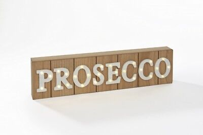 Prosecco LED light up Wooden Sign, free standing block shape, for home or events
