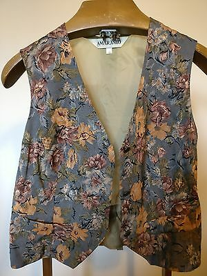"""Vintage Khaki Waistcoat with Floral Patterned Front - Size Medium 38"""""""