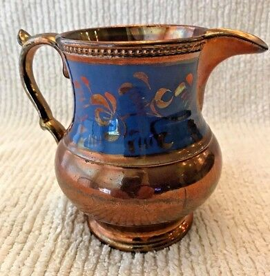 Antique Copper Luster Pitcher With Blue