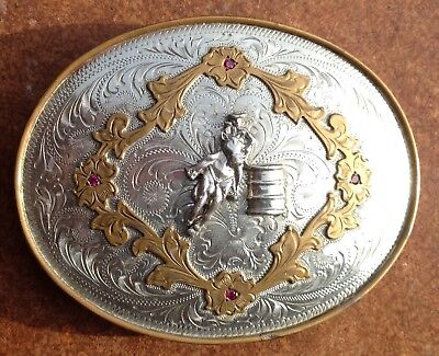 Vintage Alpaca Mexico Solid Metal Belt Buckle 4 by 3 Inch with Rubies!