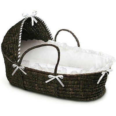 Espresso Moses Basket Hood White Bedding Safe Cozy Place Smooth Comfortable New