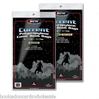 100 each BCW Current 7' Thick Comic Book Resealable Storage Bags & Backer Boards