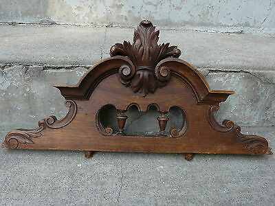 French Antique Pediment architectural Crown Wood Crest