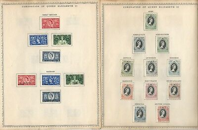 British Colonies 1953 Coronation Issue Mint LH, Set of 106 Stamps on Minkus