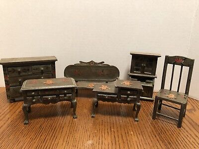 VTG Wooden Dollhouse Miniature Furniture 6 pc chair dresser settee hutch tables