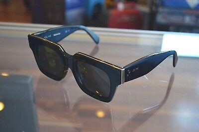 Authentic Celine CL41101/F/S Strat Screen Square Black Silver Sunglasses Italy