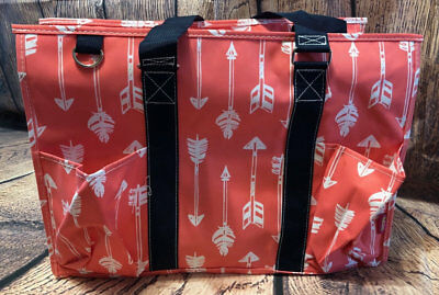 Coral Organizer Tote Bag with Arrow Design Lots of Pockets