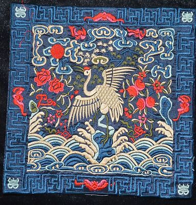 China Ancient Qing Dynasty Official Robes Mandarin Square Embroidery Crane清代官补 2