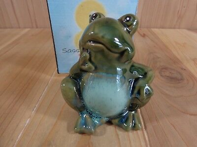 """GREEN FROG FIGURINE 4"""" Sitting in Thought Thinking Ceramic"""