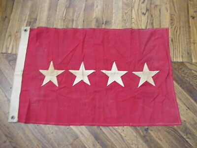 "ORIGINAL WWII 4 Star US Army General's Cloth Flag 22"" x 36"" Red With White Stars"