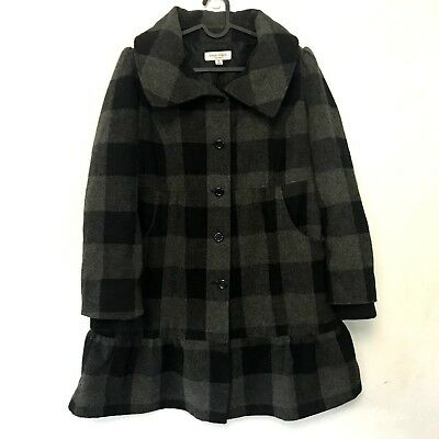 Liz Lange Maternity Jacket Coat M Checked Wool Blend Black Gray Ruffle Swing