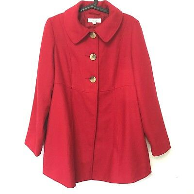 Liz Lange Maternity Jacket Coat M Red Wool Blend Womens Fall Winter Pregnancy