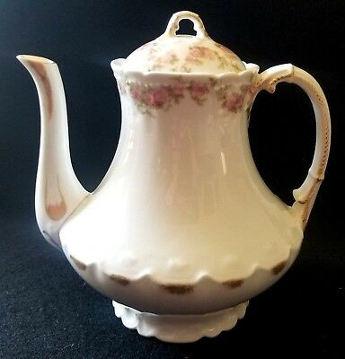 Antique Limoges Gerard Dufraisseix & Abbot  Pink Gardenia  Chocolate Pot Tea