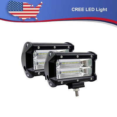 "2x5"" 144W CREE LED Pod Work Light Bar Flood Beam Off-Road Driving Fog Lights 12V"