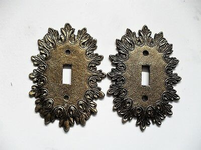 "Lot of 2 Vintage Ornate Brass Single Toggle Switch Cover Plates  4"" X 5.75"""