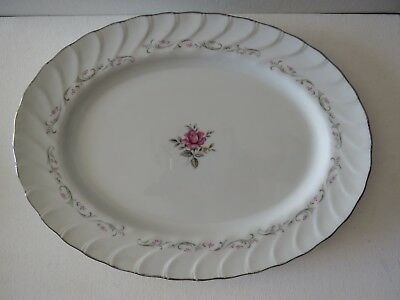 "ROYAL SWIRL Fine China of Japan~ LARGE OVAL Serving Plate~14 1/2""~Pink ROSE"