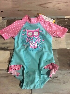 Baby Girl's Pink Swimming  Sunsuit / Size 0 / Aqua and Pink