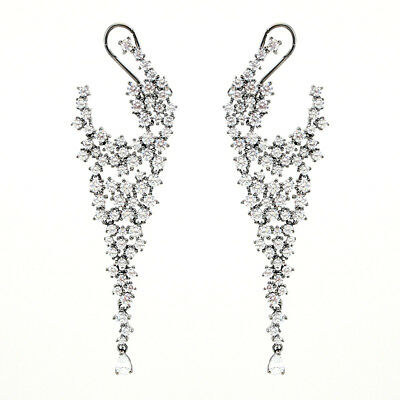 ZirconZ Elite-Pave Signity CZ Sterling Silver Celebrity Omega Dangle Earrings