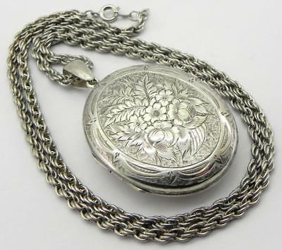 Large Victorian Solid Silver Locket & Chain, Chester 1880.