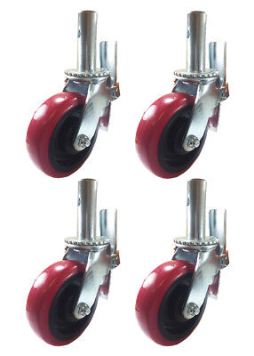 "4 pcs Scaffold Caster 6"" x 2"" Red PU Wheel Locking Brake 1-3/8"" Stem 3600 lbs."