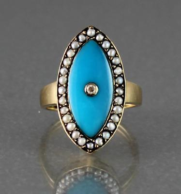 Georgian Style 9Ct Gold Ring With Diamond, Seed Pearls And Turquoise Enamel