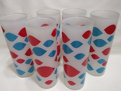 6 - Vintage Original 1960s Dairy Queen Glasses -  Frosted GLASS Tumblers - nice!