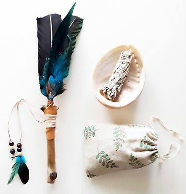 40cm Feather, Leather & Timber Smudging Fan, 150cm Abalone Shell & 25g WhiteSage