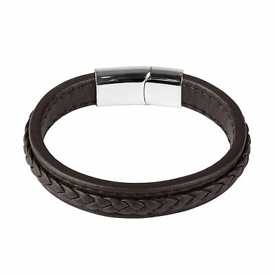 Men  Brown Fashion Jewelry Concise Leather Braided Bracelet For Male Punk