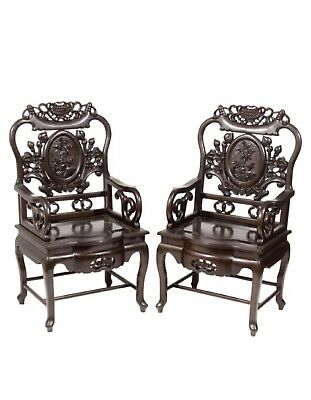 Pair Chinese Antique Rosewood Armchair