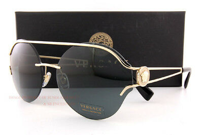 a6ba8551e5529 Brand New VERSACE Sunglasses VE 2184 1252 87 Gold Solid Gray For Women
