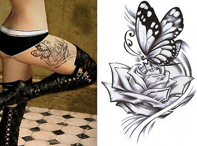 Temporary Tattoo Large Black Rose Butterfly Body Art Fake Waterproof Ladies