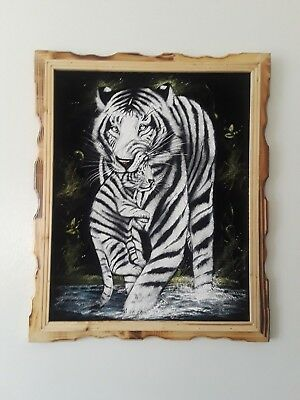 "WHITE TIGER  & CUB, Hand Painted , VELVET PAINTING , 18"" BY 22"" W ,FRAME ,DECOR"