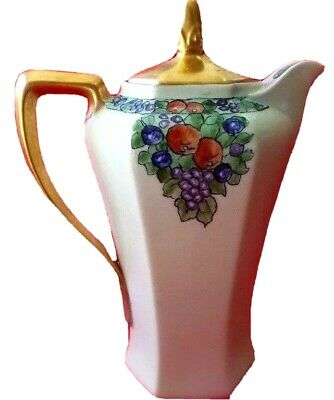 ANTIQUE CHOCOLATE POT COFFEE POT HAND PAINTED UNIQUE GOLD 1880's to 1890's
