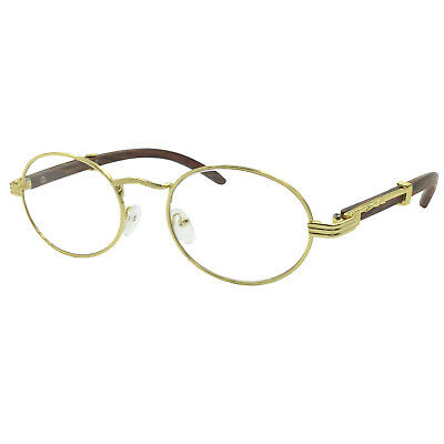 2bf30246f17d Vintage Wood Buffs Fashion Eyeglasses Oval Frame Clear Lens Glasses Art  Nouveau