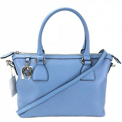 f75945a896c5 GUCCI MINERAL BLUE leather Large DOME GG CHARM convertible TOTE bag ...