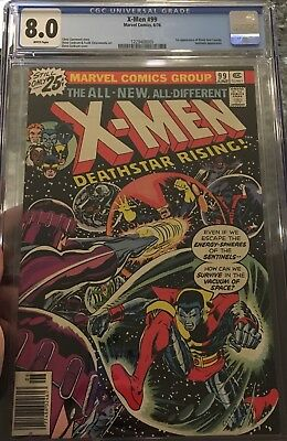 X MEN 99 CGC 8.0 WHITE pages SENTINELS BLACK TOM CASSIDY - Vintage Marvel