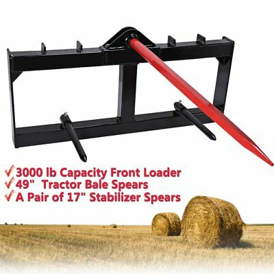 """49"""" Tractor Hay Bale Spear Attachment 3000 lb Spike Skid Steer Quick Tach Bobcat"""