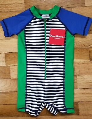 NWT Hanna Andersson Boys 1 pc Swimmy Rash Guard Striped Navy Green 75 12-18m