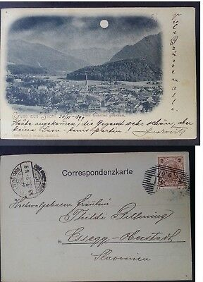 "1899 Austria Postcard ""Greetings from Ischl"" ties 2 Kr stamp to Essegg"
