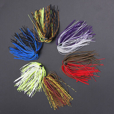 13.6cm 50 Colorful Strands/Bundle Silicone Skirts Fishing Skirt Rubber Jig Lure