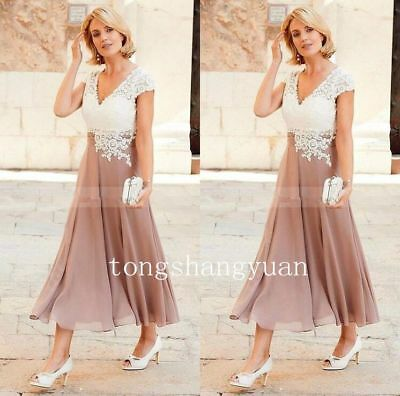 Tea Length Mother of the Bride Dress Pink Lace Chiffon Formal Gown Free Shipping