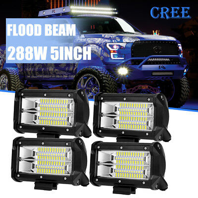 4x 5'' 288W LED Work Light Bar Flood Driving Lamp Jeep Truck Boat Offroad SUV 4""
